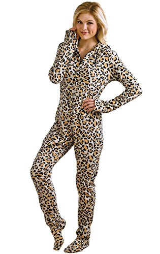 PajamaGram Women 's Hoodie-Footie Leopard Print Fleece Onesie Pajamas