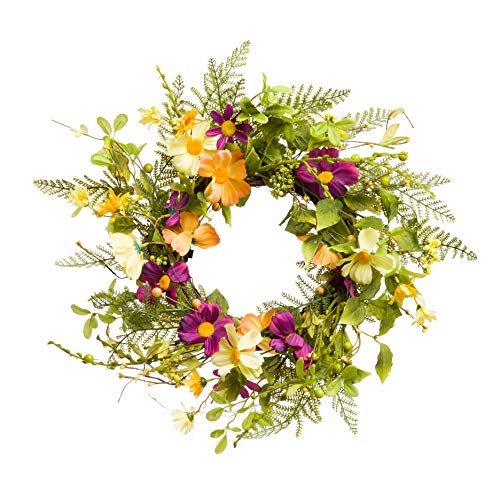 (PINE AND PAINT LLC Lighted Daisy Cosmos Summer Flower Wreath 18 Inches Spring Summer Fall Harvest)