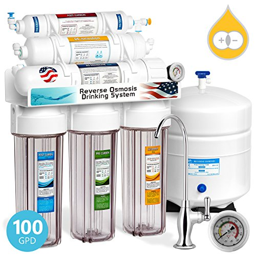 Express Water Deionization Reverse Osmosis Filtration System – 6 Stage RO DI Water Filter with Faucet and Tank – Distilled Pure – Under Sink Home Softener – 100 GPD with Clear Housing & Pressure Gauge ()