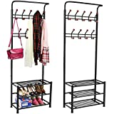 Yaheetech Metal Multi-purpose Garment Rack Coat Clothes Stand 3-Tier Shoes Shoes Rack Umbrella Stand With Hanging Hooks Black