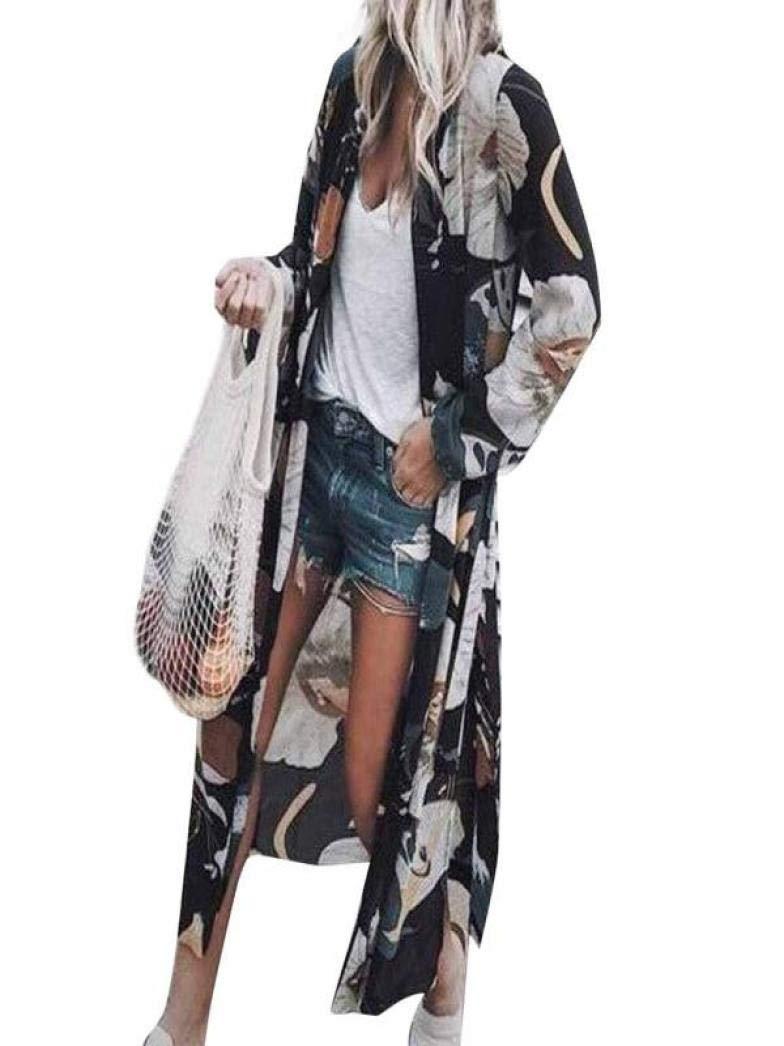 Zlolia-Blouses Preferential Women Chiffon Lotus Print Long Coat Tops Suit Kimono Cover Beach Smock