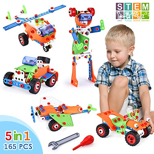 VATOS STEM Building Blocks Kit 165 Piece Creative Construction Engineering Plastic Building Toy Sets for Ages 5 6 7 8 9 Year Old Boys & Girls | Best Toy Gift for Kids Birthday | Top Blocks Game (Year Building 10 Toys For Olds)