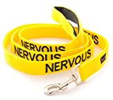 NERVOUS Yellow Color Coded 6 Foot Dog Padded Leash (Give Me Space) PREVENTS Accidents By Warning Others of Your Dog in Advance