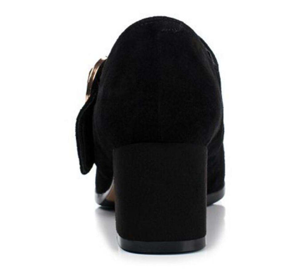 Damenschuhe Echtes Wildleder Wildleder Wildleder Büro & Karriere Faulenzer-Pumpe Ballerina Blockabsatz Größe 35 bis 42 schwarz 56341a