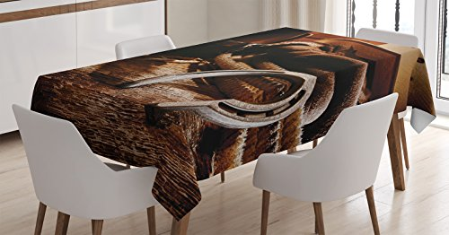 Western Decor Tablecloth by Ambesonne, Boho Folklore Materials Classic Style Roper Boots Equestrian Life Icons Heels View, Dining Room Kitchen Rectangular Table Cover, 60W X 90L Inches, Brown ()
