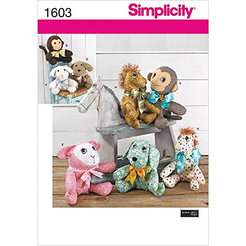 Simplicity 1603 Plush Stuffed Animal Toy Sewing Patterns, One Size