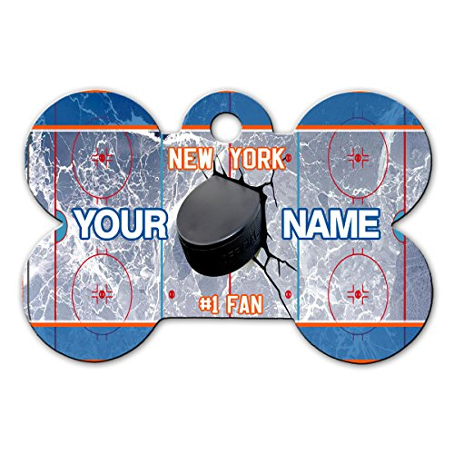 BleuReign(TM) Personalized Custom Name Hockey Team New York Orange License Plate Bone Shaped Metal Pet ID Tag with Contact Information