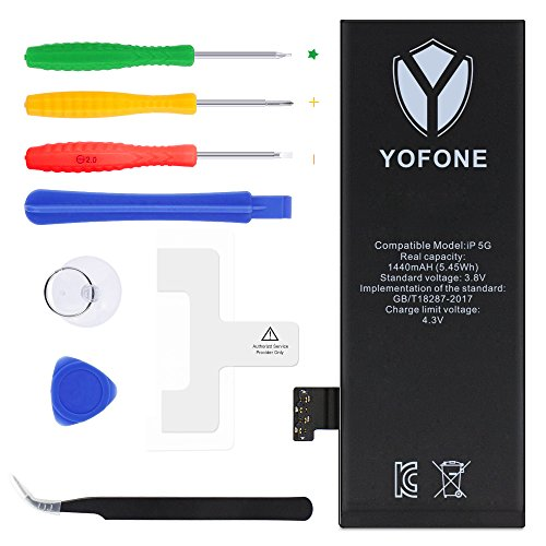 YOFONE Battery for iPhone 5, with Complete Repair Tools Kit, 2 Pcs Glue Adhesive & Instruction - (A1428, A1429, A1442) 1440mAh Li-ion Replacement Battery