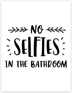 Andaz Press Funny Bathroom Toilet Restroom Unframed Wall Art, 8.5x11-inch, No Selfies in The Bathroom, 1-Pack, Poster Decor