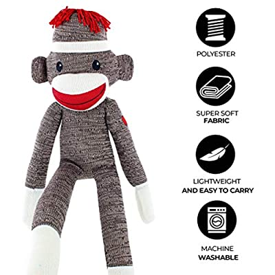 Plushland Brown Original Sock Monkey, Adorable Hand Knitted Stuffed Animal Toy Gift-for Kids, Babies, Teens, Girls and Boys Baby Doll Present Puppet 20 Inches: Toys & Games