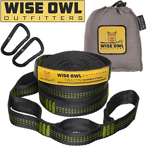 Wise Owl Outfitters Talon Hammock Straps - Combined 20 Ft Long, 38 Loops W/ 2 Carabiners - Easily Adjustable, Tree Friendly Must Have Gear for Camping Hammocks Like Eno Green Stitching