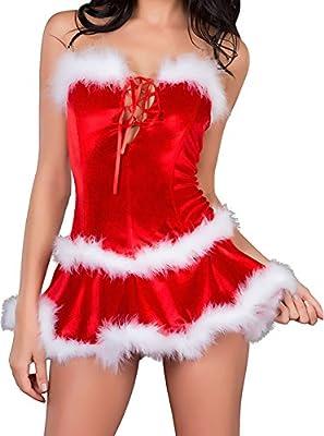 MYQueen Womens Sexy 3pcs Maribou Trim Christmas Santa Costume