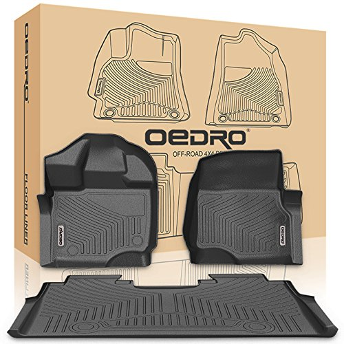 oEdRo Floor Mats Liners Compatible for 2015-2019 Ford F-150 SuperCrew Cab- Unique Black TPE All-Weather Guard, Includes 1st & 2nd Front Row and Rear Floor Liner Full Set ()