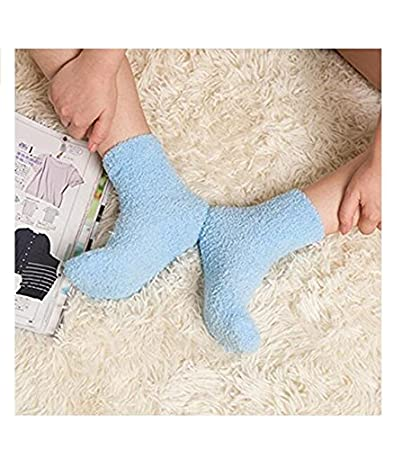 DinRoll Home Winter Warm Thicken Coral Fleece Fluffy Floor Socks Sleep Bed Socks (Black)