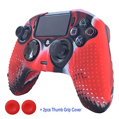 Hikfly Silicone Gel Controller CoverHikfly Revolution Pro Controller V2 Cover Compatible with Nacon PS4 Controller Grips Skin Non-Slip Studded Silicone Cover with 2pcs Thumb Grips Caps(CamoRed)