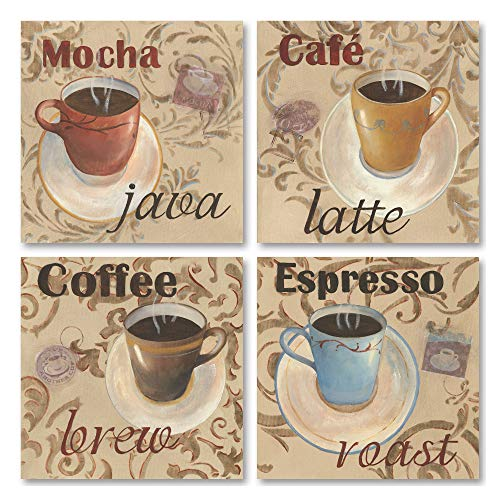 - Classic Latte Espresso Mocha Coffee Decorative Prints; Kitchen Decor; 4-12X12 Paper Poster Prints