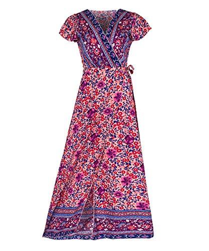 (Womens Boho Dresses Retro Floral Print Long Dresses Short Sleeve Swing Maxi Dresses Red)