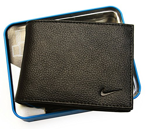 Nike Men's Genuine Leather Pebble Passcase Wallet (One size, Black)