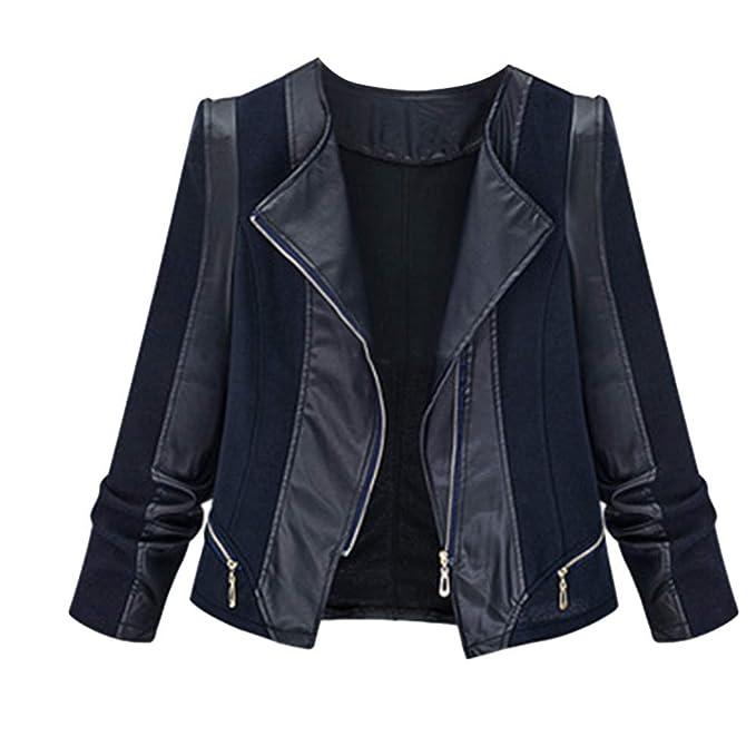 Lenfesh Jacket Mujer Chaqueta De Cuero Chaqueta de Motorista Mujeres Abrigos Mujer Manga Larga Otoño Invierno