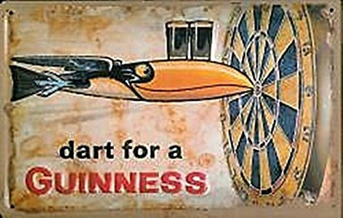 GUINNESS DART Small Vintage Metal Tin Pub Sign -