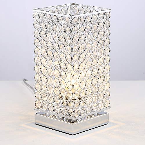 COTULIN Modern Elegant Square Crystal Table Lamp,Bedside Desk Lamp with Square Metal Shade for Bedroom,Dresser,Living Room,Kids Room,Bookcase,Restaurant,Coffee - Square Metal Lamp Table