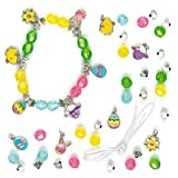 Easter Charm Bracelet Kits with Chick, Bunny, Lamb, Daffodil & Easter Egg Metal Charms Jewellery Making Kit (Pack of 3)