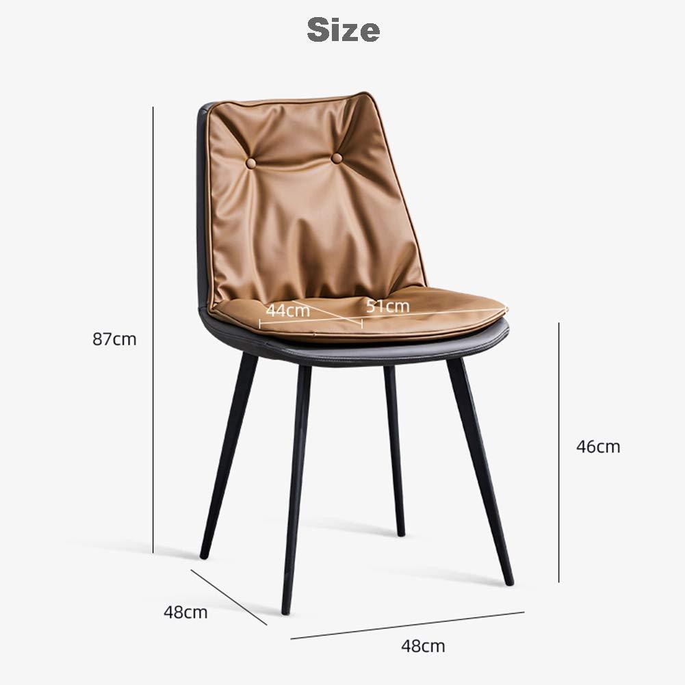 Qhxxtxjis Matstolar | Läderstol | Modern stol | Säte och rygg köksstolar med massiva metallben för vardagsrum sovrum matsalsstolar, blå BLÅ