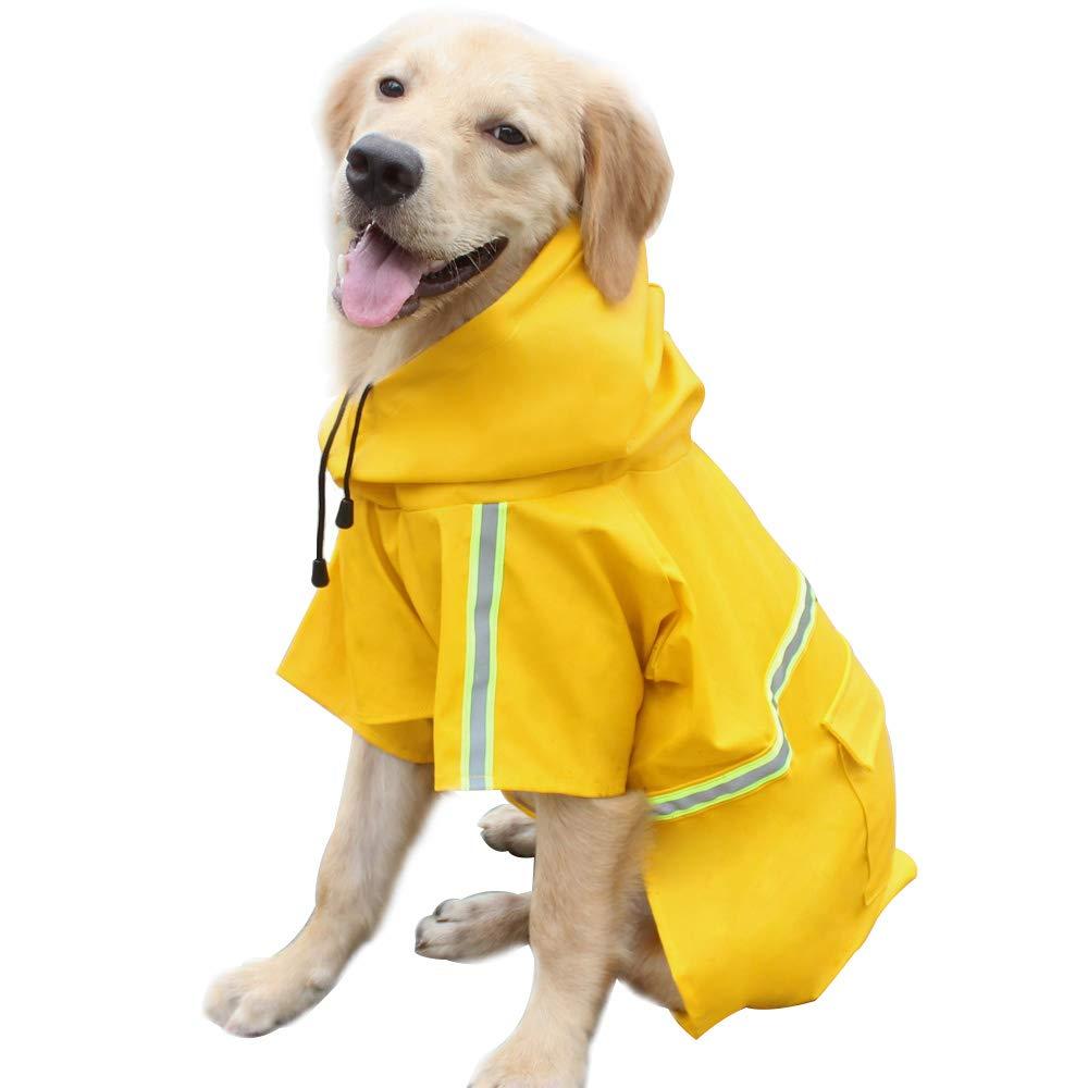 Dog Raincoat Leisure Waterproof Lightweight Dog Coat Jacket Reflective Rain Jacket with Hood for Small Medium Large Dogs(Yellow,M)