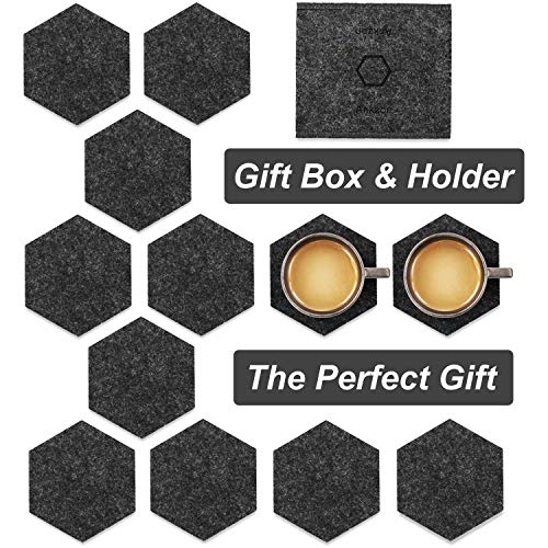 (Coasters for Drinks, Set of 12 Absorbent Felt Drink Coaster with Double Holder (Premium Gift Package) Perfect Housewarming Gift, Dark Grey Hexagon)