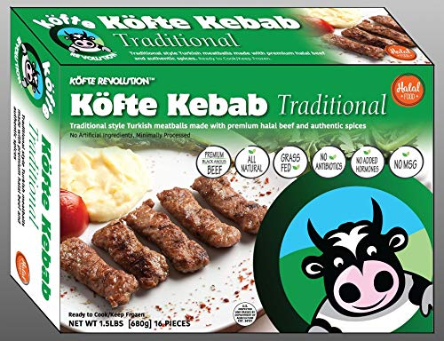 Halal, Premium Black Angus Beef, All Natural, Grass Feed KÖFTE KEBAB  Traditional - 1 5 lbs, 16 pieces (Frozen)