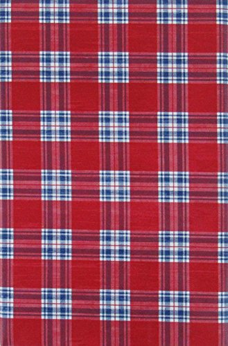 Red, White and Blue Tartan Plaid Vinyl Flannel Back Tablecloth (52
