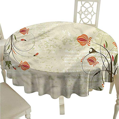 ScottDecor Table Cover Floral,Shabby Chic Curved Onion Tassel Tablecloth Round Tablecloth D 50
