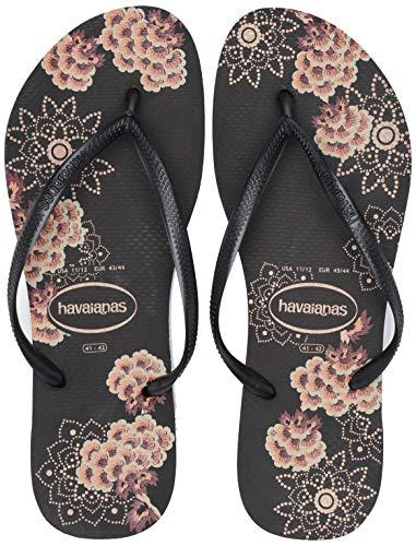 Havaianas Women's Slim Organic Flip Flop Sandal, Black/Dark Grey Metallic, 37/38 BR (7-8 M - Dress Brazil Womens