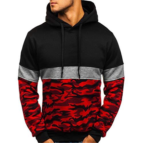 Men Camouflage Pullover Hoodie Long Sleeve Hooded Sweatshirt Camo Tops