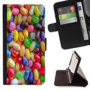 - Rainbow Sugar Candy - - Style PU Leather Case Wallet Flip Stand Flap Closure Cover FOR Sony Xperia Z1 L39 - Devil Case -