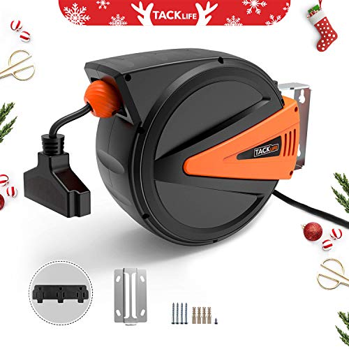 (TACKLIFE Cord Reel,50+4.5ft Retractable Extension Cord, 14AWG, 3C SJTOW, 180°Swivel Ceiling or Mounting Metal Slotted Base, Tri Tap Connector, Reset Button and Adjustable Stopper,GCR2A)