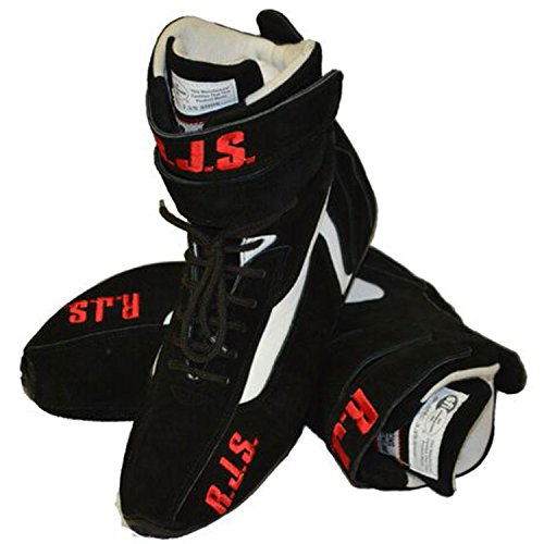 NEW PAIR OF RJS BLACK HIGH-TOP DRIVING SHOES, SIZE 9, RACING BOOTS HAVE SFI SPEC OF 3.3/5, COMFORTABLE, DURABLE, AND SAFE FOR THE RACER, HIGH-QUALITY BRUSHED LEATHER AND ARIMAND KEVLAR LINER FOR EXTRA COMFORT, GREAT FOR NUMEROUS TYPES OF RACING (Racing 09 Pit)