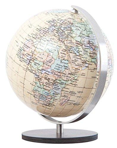 Columbus ROYAL: Miniglobus, politisch, unbeleuchtet, 12 cm Durchmesser, handkaschiert, Holzfuß braun, Meridian edelstahl Columbus Verlag Holzfuß braun 3871294861 Globen