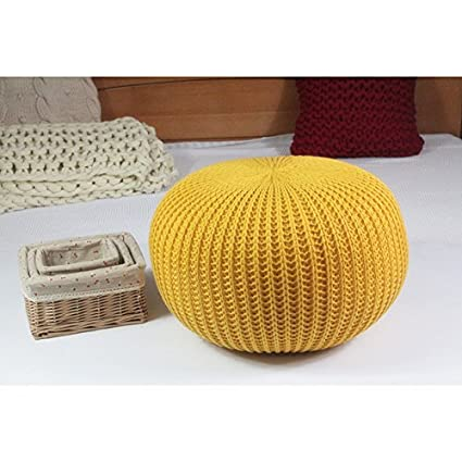 Amazon Hand Knitted Woolen Round Cushion POUF Floor Ottoman Mesmerizing Yellow Knit Pouf