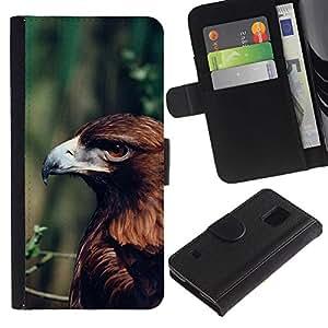 Paccase / Billetera de Cuero Caso del tirón Titular de la tarjeta Carcasa Funda para - eagle summer green branch nature brown - Samsung Galaxy S5 V SM-G900