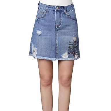 E-Girl E3018 Mini A-Linie Rock - Falda Vaquera para Mujer: Amazon ...
