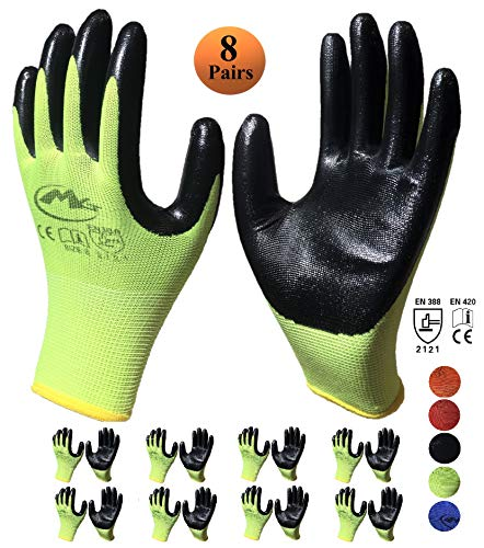 MG Nitrile Latex Rubber Palm Coated Work Gloves, 8-Pairs, Nylon Knit Work Gloves with Dipped Palm Coating, Gloves for Gardening (Large, Green)