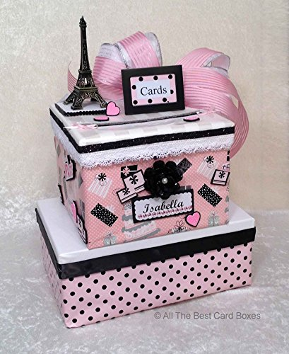 [Paris French Sweet 16 Quinceanera Birthday Card Box, Handmade, two tiers, polka dots, pink, black, allthebestcardboxes, holds 60 cards] (Glamour Personalized Birthday Banner)