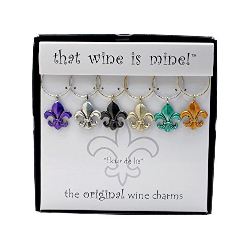 Wine Things ''Fleur De Lis'' Painted Wine Charms, Fits Neatly Around Stem, Multicolor by Wine Things