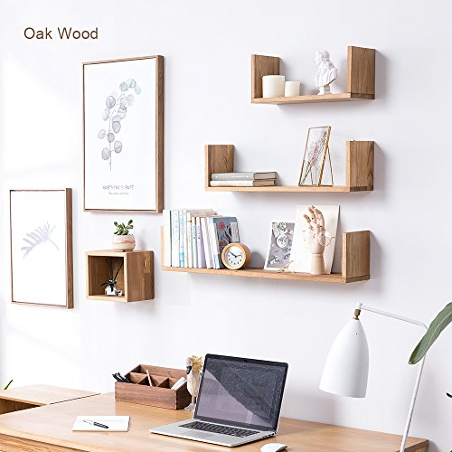 U-shaped Wall Mount - INMAN Wooden Floating U Shaped Wall Shelves, Bookshelves Ledge Display Wall Mount Small Sink Shelf Simple for Picture Frames Book Media Trophy (Oak, Small)