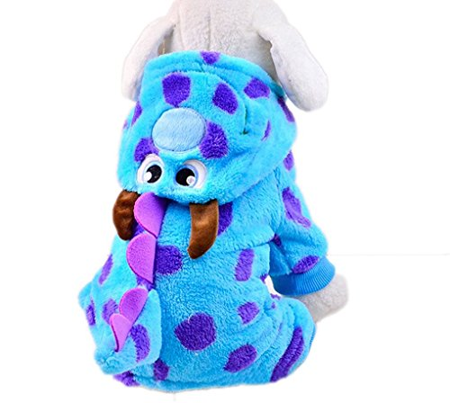 Pets Winter Clothes Dragon Popodino Costume for Teddy Dogs Hoodies Coat Jacket With Hat for Small Medium Dogs Halloween Day Gifts Dotted Costume Apparel Outfit
