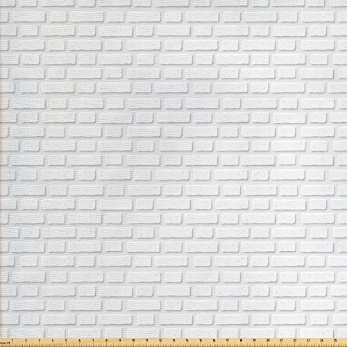 Lunarable White Fabric by the Yard, Urban City Construction Theme with Cartoon Style Brick Wall Architecture Concept Print, Decorative Fabric for Upholstery and Home Accents, White (Fabrics City Furniture Brick)