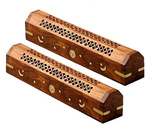Cotton Craft - 2 Pack - Coffin Style Wood Incense Burner Holder with Sun and Moon Inlays - Handmade from Sheesham Wood and Brass Inlays - Size 12x2x2