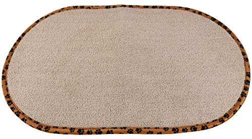 Home-X – Pet Bowl Mat, Highly Absorbent Microfiber Design Reduces Messes by Soaking Up Spills and Drips, Great for Both Cats & Dogs
