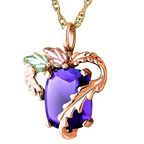 Classy! 10k Yellow-gold Black Hills Gold 10x8mm (June-Birthstone) Created Alexandrite pendant-necklace